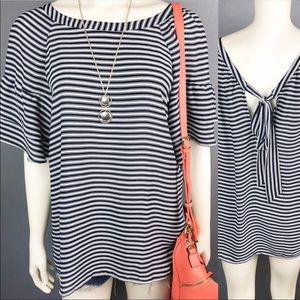Loft Outlet striped ruffle tie back top navy white